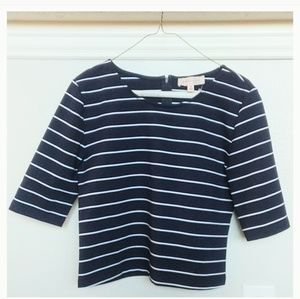 Philosophy navy/white stripe 3/4 sleeve crop top